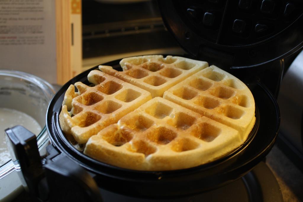 Homemade Belgian Waffles In A Waffle Iron Betty Crocker Style