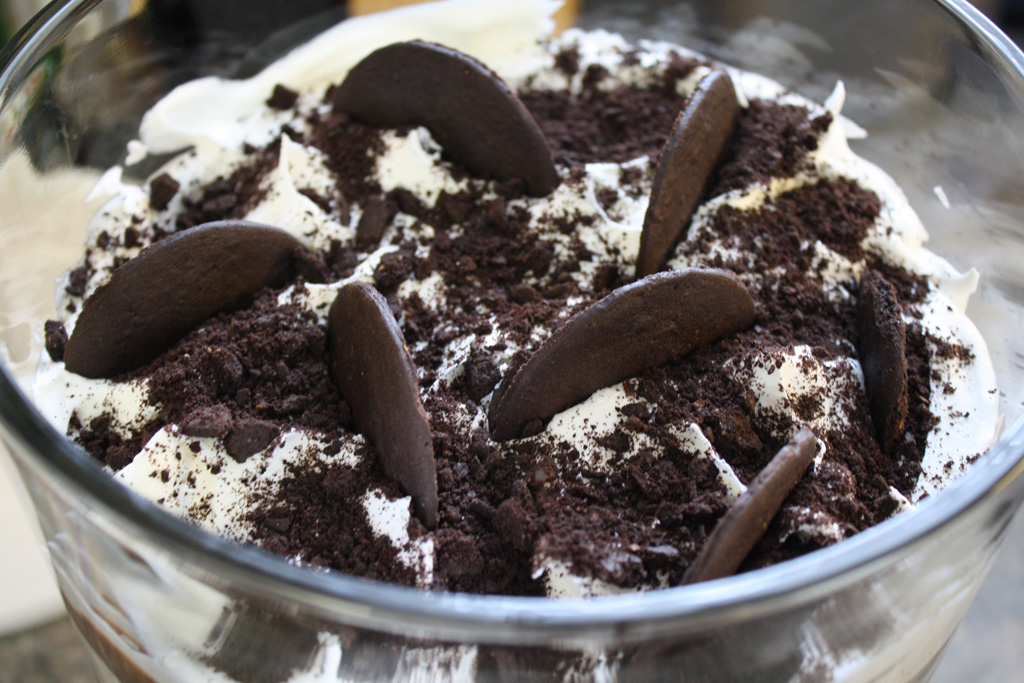 Chocolate brownie trifle. Layers of brownie, chocolate pudding ...